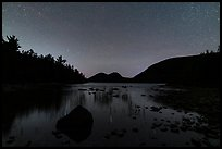 Jordan Pond and Bubbles at night. Acadia National Park, Maine, USA.