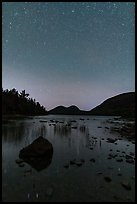 Jordan Pond and Bubbles with starry sky. Acadia National Park, Maine, USA.