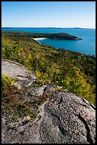 Granite slab and Sand Beach from Gorham Mountain. Acadia National Park ( color)