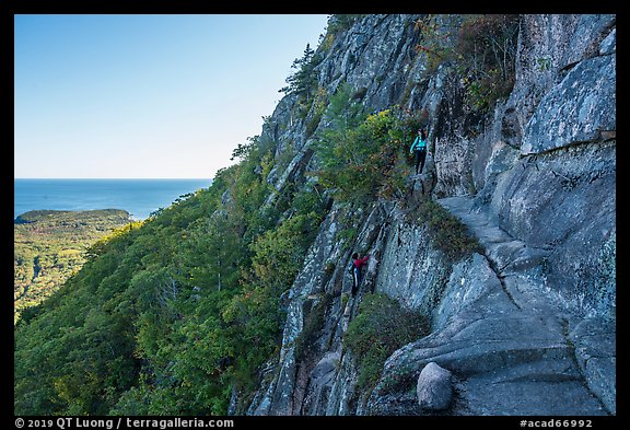 Hikers on Precipice Trail. Acadia National Park (color)