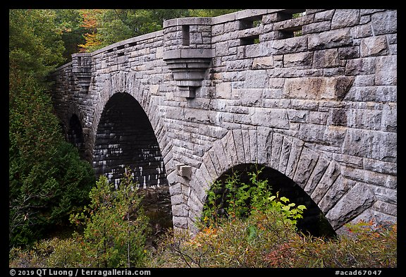 Tripled-arched Duck Brook Bridge. Acadia National Park (color)