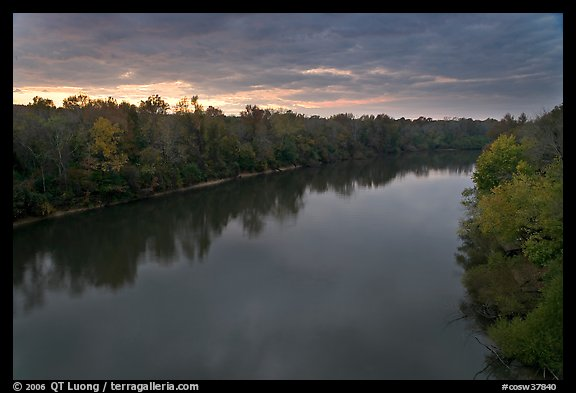 Congaree River under storm clouds at sunset. Congaree National Park, South Carolina, USA.