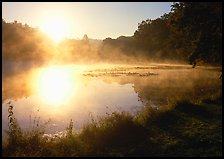 Sun shining through mist, Kendall Lake, Virginia Kendall Park. Cuyahoga Valley National Park ( color)