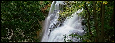 Brandywine falls flowing in autumn forest. Cuyahoga Valley National Park (Panoramic color)