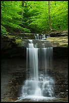 Blue Hen Falls dropping over ledge in summer. Cuyahoga Valley National Park ( color)