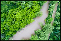 Aerial view of Cuyahoga River and Ohio Erie Canal looking down. Cuyahoga Valley National Park ( color)