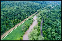 Aerial view of Ohio Erie Canal, Towpath Trail, Cuyahoga River, Scenic Railroad. Cuyahoga Valley National Park ( color)