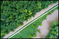 Aerial view of Ohio Erie Canal, Towpath Trail and Cuyahoga River. Cuyahoga Valley National Park ( color)