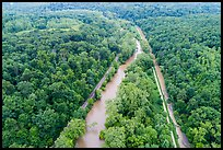 Aerial view of Scenic Railroad along Cuyahoga River and Towpath Trail along Ohio Erie Canal. Cuyahoga Valley National Park ( color)