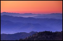 Blue ridges and orange dawn glow from Clingman's dome, North Carolina. Great Smoky Mountains National Park, USA.