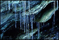 Rock, Icicles and snow, Tennessee. Great Smoky Mountains National Park, USA. (color)