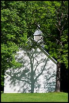 Palmer Chapel with tree shadow, Big Cataloochee, North Carolina. Great Smoky Mountains National Park ( color)