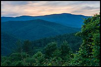 Mount Sterling at sunset from Cataloochee Overlook, North Carolina. Great Smoky Mountains National Park ( color)