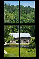 Caldwell Barn from Caldwell House window, Cataloochee, North Carolina. Great Smoky Mountains National Park ( color)