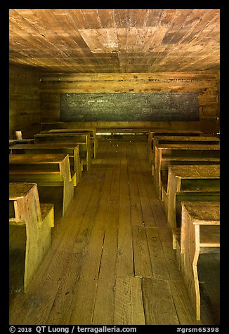 Classroom desks, Little Greenbrier School, Tennessee. Great Smoky Mountains National Park (color)