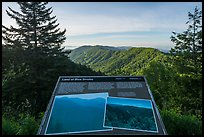 Land of blue smoke interpretive sign, North Carolina. Great Smoky Mountains National Park ( color)