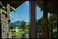 Window reflexion, Oconaluftee Visitor Center, North Carolina. Great Smoky Mountains National Park ( color)