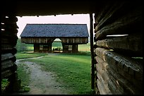 Cantilever barn framed by doorway, Cades Cove, Tennessee. Great Smoky Mountains National Park ( color)
