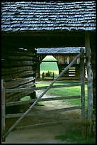 Barn seen through another barn, Cades Cove, Tennessee. Great Smoky Mountains National Park ( color)