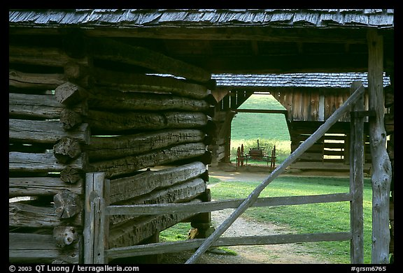 Historic barns, Cades Cove, Tennessee. Great Smoky Mountains National Park, USA.