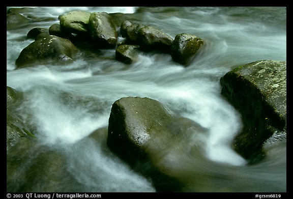 Rocks in river, Greenbrier, Tennessee. Great Smoky Mountains National Park, USA.