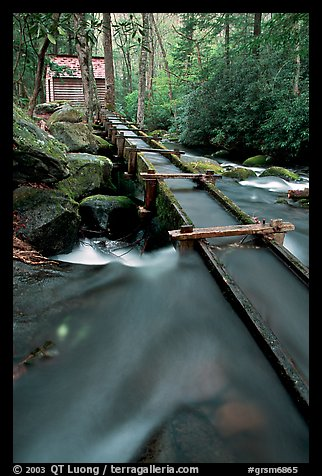 Flume to Reagan's Mill from Roaring Fork River, Tennessee. Great Smoky Mountains National Park, USA.