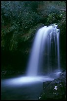 Grotto falls in darkness of dusk, Tennessee. Great Smoky Mountains National Park, USA.