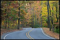 Windy road and fall colors on West Mountain. Hot Springs National Park ( color)