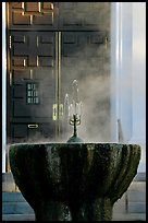 Fountain with thermal steam outside Park Visitor Center. Hot Springs National Park ( color)