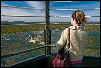 Tourist looking at the view from Hot Springs Mountain Tower in the fall. Hot Springs National Park ( color)