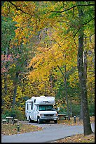 RV in campground with fall colors. Hot Springs National Park ( color)