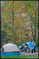 Tent and motorcycle camper under trees in fall colors. Hot Springs National Park ( color)