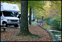RV, trees in fall colors, and stream. Hot Springs National Park ( color)
