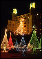 Christmas lights and  Arlington Hotel. Hot Springs, Arkansas, USA (color)