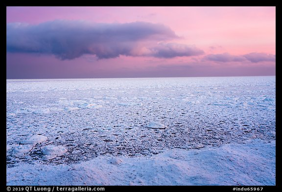 Frozen Lake Michigan from base of Mount Baldy. Indiana Dunes National Park (color)