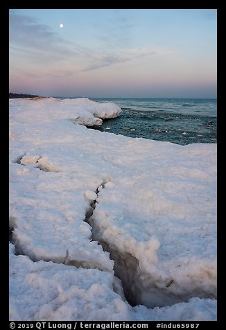 Cracks in shelf ice and moon at dawn, West Beach. Indiana Dunes National Park (color)