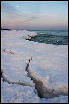 Cracks in shelf ice and moon at dawn, West Beach. Indiana Dunes National Park ( color)