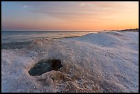 Hole in shelf ice, sunrise, West Beach. Indiana Dunes National Park ( color)