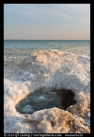 Opening in shelf ice. Indiana Dunes National Park (color)