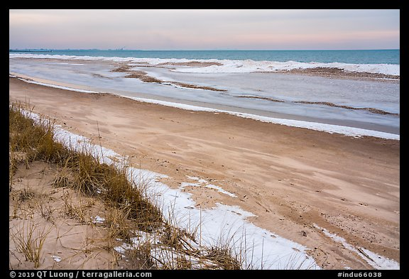 Beach in winter with snow and ice. Indiana Dunes National Park (color)