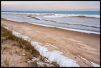 Beach in winter with snow and ice. Indiana Dunes National Park ( color)