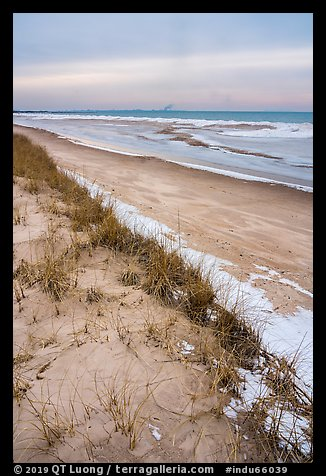 Dune, grasses, beach, and ice. Indiana Dunes National Park (color)