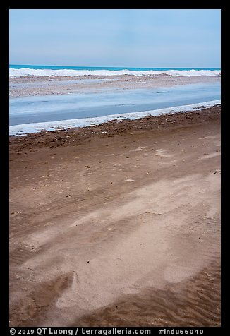 Sand beach, and ice in winter. Indiana Dunes National Park (color)