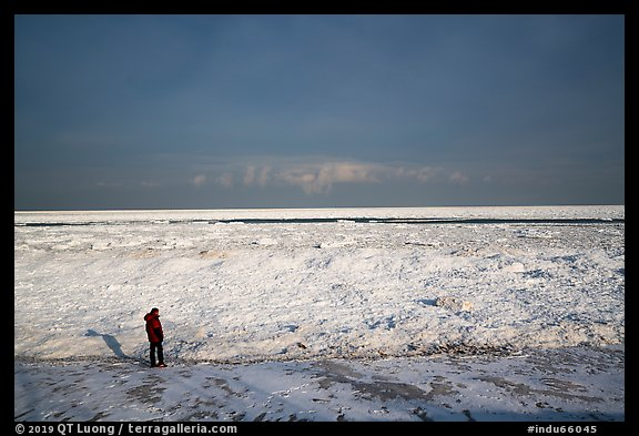 Visitor looking, Mt Baldy Beach. Indiana Dunes National Park (color)