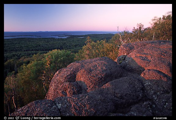 Eroded granite blocs on Mount Franklin at sunset. Isle Royale National Park (color)