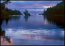 Islet in Chippewa Harbor at sunrise. Isle Royale National Park, Michigan, USA. (color)