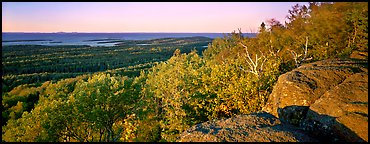 Rocky bluff overlooking island with Lake Superior in the distance. Isle Royale National Park (Panoramic color)