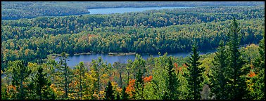 Lakes and forest in autumn. Isle Royale National Park (Panoramic color)