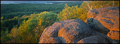 Rocky outcrop with last light. Isle Royale National Park (Panoramic color)