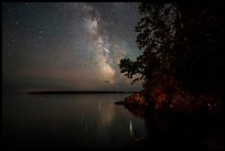 Milky Way and Smithwitck Island from Rock Harbor. Isle Royale National Park ( color)